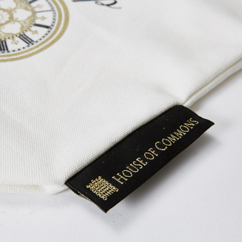 Sew-in labels in cotton bags, bag labels sewn in side seams, customised bags UK, british made personalised bags,